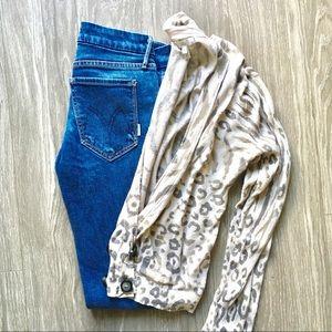 Joie Leopard Print Cardigan Size Small